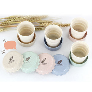 ECO Collection Mini Portable Wheat Straw Plastic Folding Cup