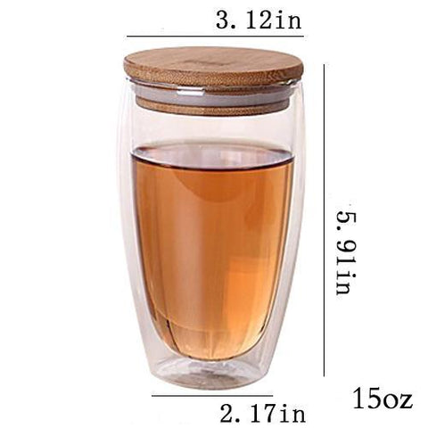 TeaEssentials Double Wall Glass Insulated Tea Cups w/ Bamboo Lid - 3 Sizes