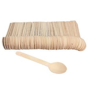 EARTH Collection Eco-Friendly Disposable Bamboo Tableware Wooden Spoon - 100 Pieces