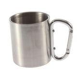 Stainless Steel 220ml Portable Cup Double Wall Travel Tumbler Coffee Milk Tea Cup With Outdoor Camping Carabiner Hook