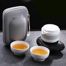 VOYAGER Collection Portable Ceramic 4-Piece Gung Fu Tea Set w/ Carrying Case - 2 Colors