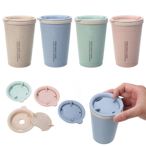 ECO Collection Wheat Straw Plastic Insulated Tea Cup w/ Rotating Lid - 9.5oz - 4 Colors