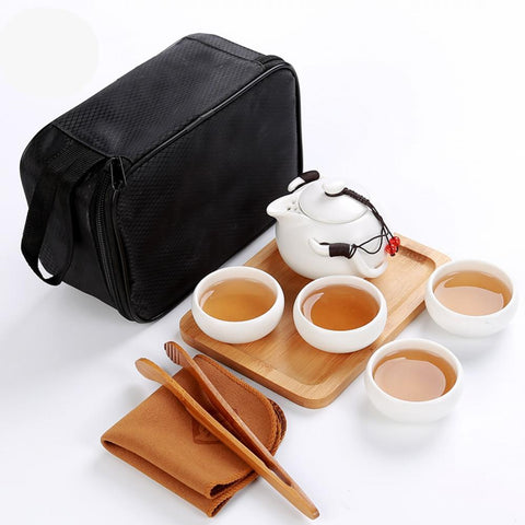 VOYAGER Collection Travel Ceramic Full Service 5-Piece Tea Set w/ Carrying Case - 6 Styles