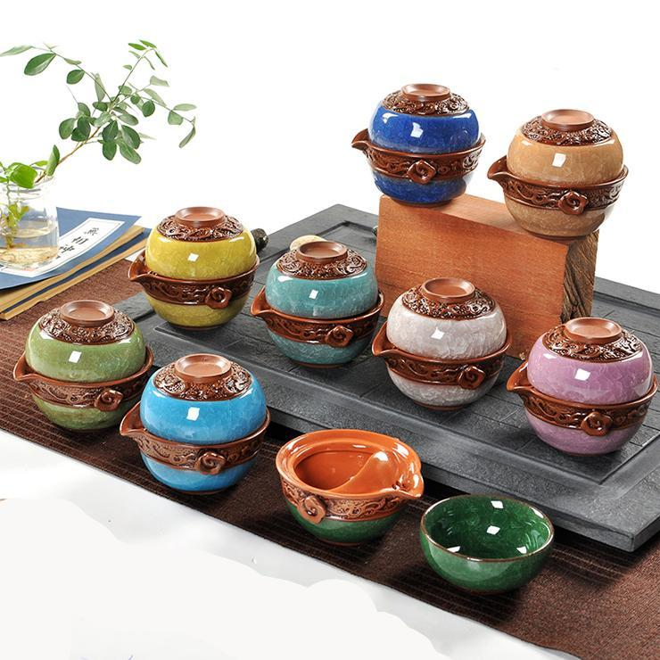 TEA FOR ONE Collection Heavenly Dragon Portable Glazed Gaiwan 2-Piece Tea Set