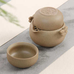 VOYAGER Collection Coarse Ceramic Pottery 3-Piece Travel Tea Set