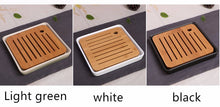 ADVENTURE Collection Portable Ceramic & Bamboo Serving Tea Tray w/ Drainage Vent