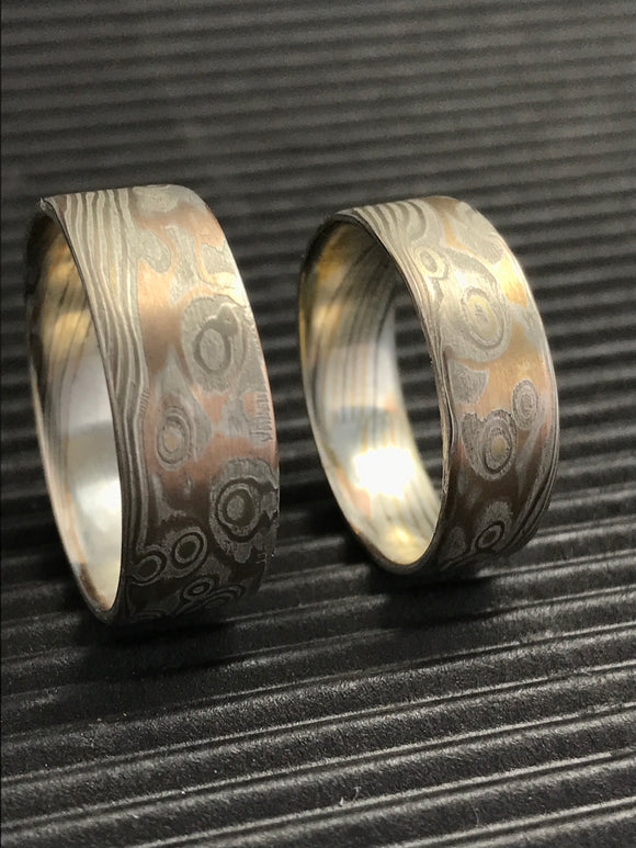 bands gane ring flw mens wedding mokume rings