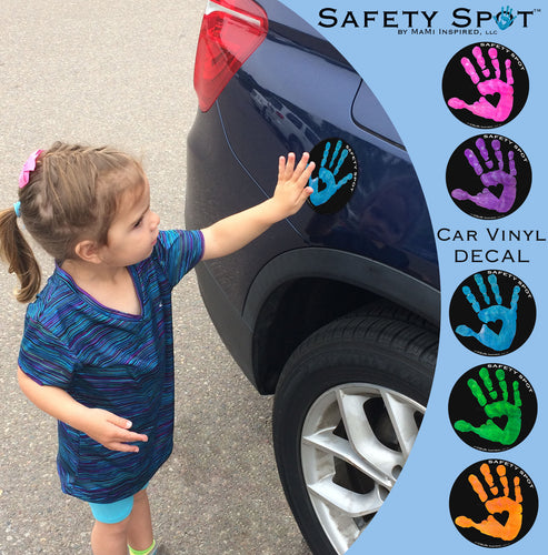 Safety Spot® Vinyl DECAL Sticker - Kids Handprint for Car Parking Safety - BLACK Background - Safety Spot