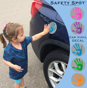 Safety Spot® Vinyl DECAL Sticker - Kids Handprint for Car Parking Safety - GRAY Background - Safety Spot