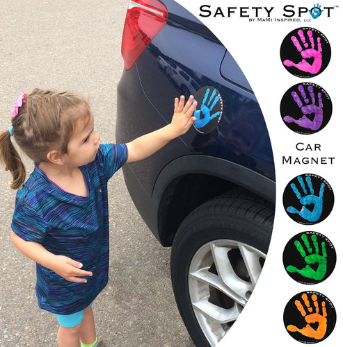 Safety Spot ™ MAGNET - Kids Handprint for Car Parking Lot Safety - BLACK Background - Safety Spot