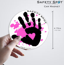 Safety Spot ™ MAGNET - Kids Handprint for Car Parking Safety - BLACK Handprints with Colored SPLAT - Safety Spot