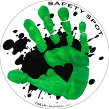Safety Spot ™ MAGNET - Kids Handprint for Car Parking Safety - BLACK Splat with Colored Handprints - Safety Spot
