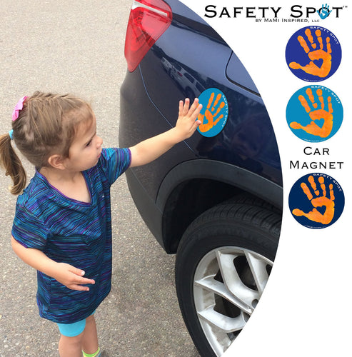 Safety Spot ™ MAGNET - Kids Handprint for Car Parking Safety - ORANGE Handprint, BLUE Background - Safety Spot