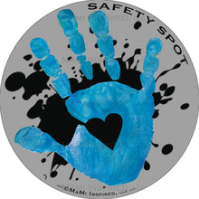 Safety Spot ™ MAGNET - Kids Handprint for Car Parking Safety - BLACK Splat on GRAY Background - Safety Spot