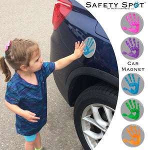 Safety Spot ™ MAGNET - Kids Handprint for Car Parking Safety - GRAY Background - Safety Spot