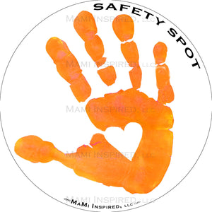 Safety Spot ™ MAGNET - Kids Handprint for Car Parking Safety - WHITE Background - Safety Spot