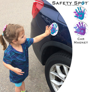 Safety Spot ™ MAGNET - Kids Handprint for Car Parking Safety - Purple, Blue SPLAT - Safety Spot