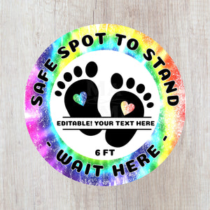 EDITABLE Safe Spot to Stand Floor Decal for School and Daycares - Kids Footprints for Social Distancing - Rainbow Tie Dye