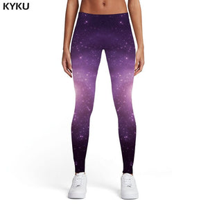 KYKU Galaxy Leggings Women Space Leggins Blue Sport Rock Spandex Gothic Printed pants Womens Leggings Pants Fitness Jeggins