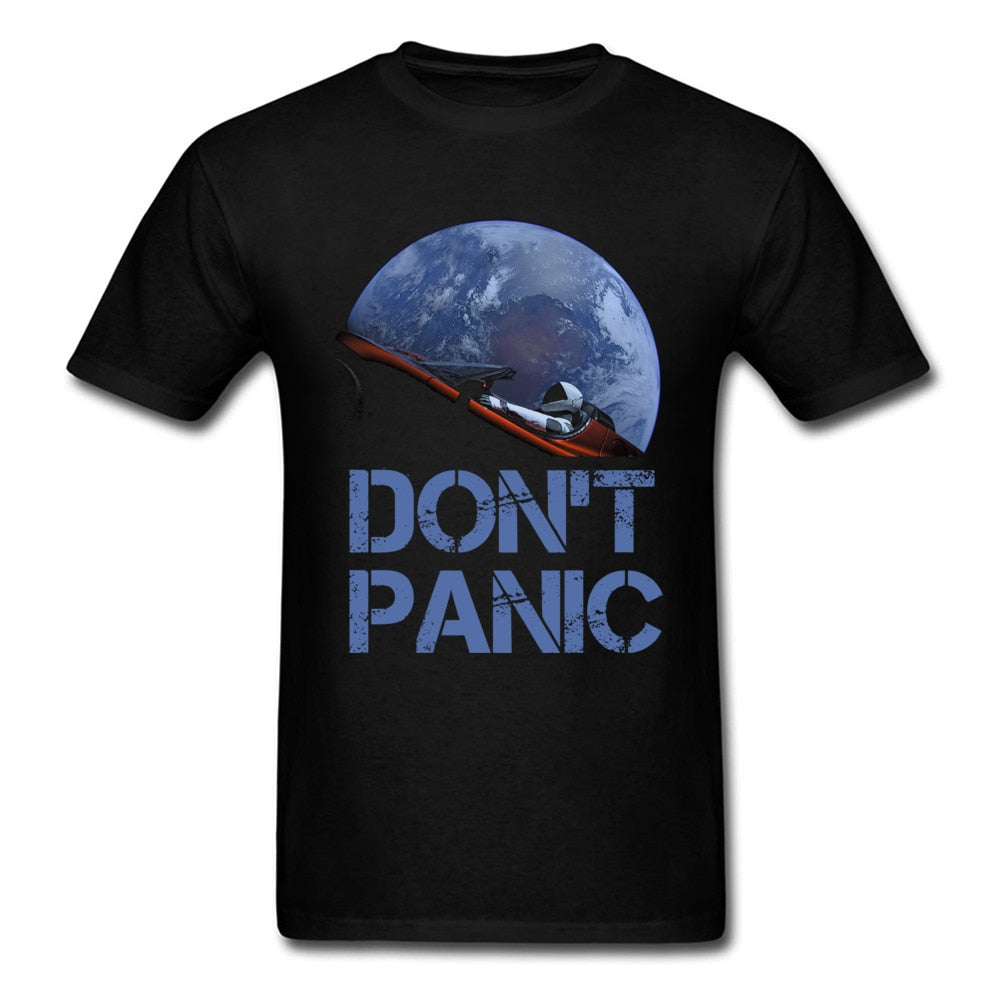 Novelty Occupy Earth SpaceX Starman T Shirt Man 100% Cotton Elon Musk Space X T-Shirt Summer Camiseta Mens Tshirt Don't Panic