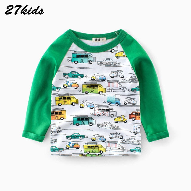 27Kids 2-9Year Cartoon Universe Planet Boys Full Sleeve Tshirt Space Astronaut Pattern Children Tops Kids Clothes
