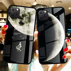 Cool Space Tempered Glass Case For iPhone 11 12 Pro Max Xs Mini Moon Star Cover For iPhone 6S 7 8 Plus X XS Max XR SE 2020 Cases