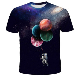 2021 Cosmos Planet Space Galaxy Astronaut 3D T-Shirt Children Moon Print Star Sky Boys Girls Kids Fashion Tshirt