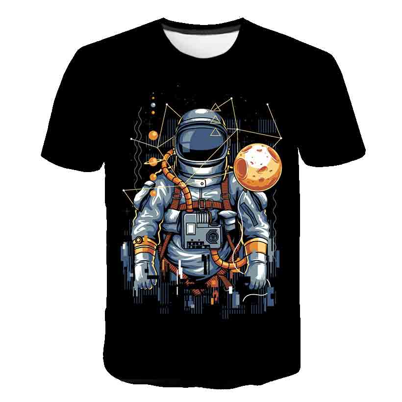 Kids 3-14Year Cartoon Universe Planet Boys Short Sleeve Tshirt Space Astronaut Pattern Children's Baby Tops Child Kids Clothes
