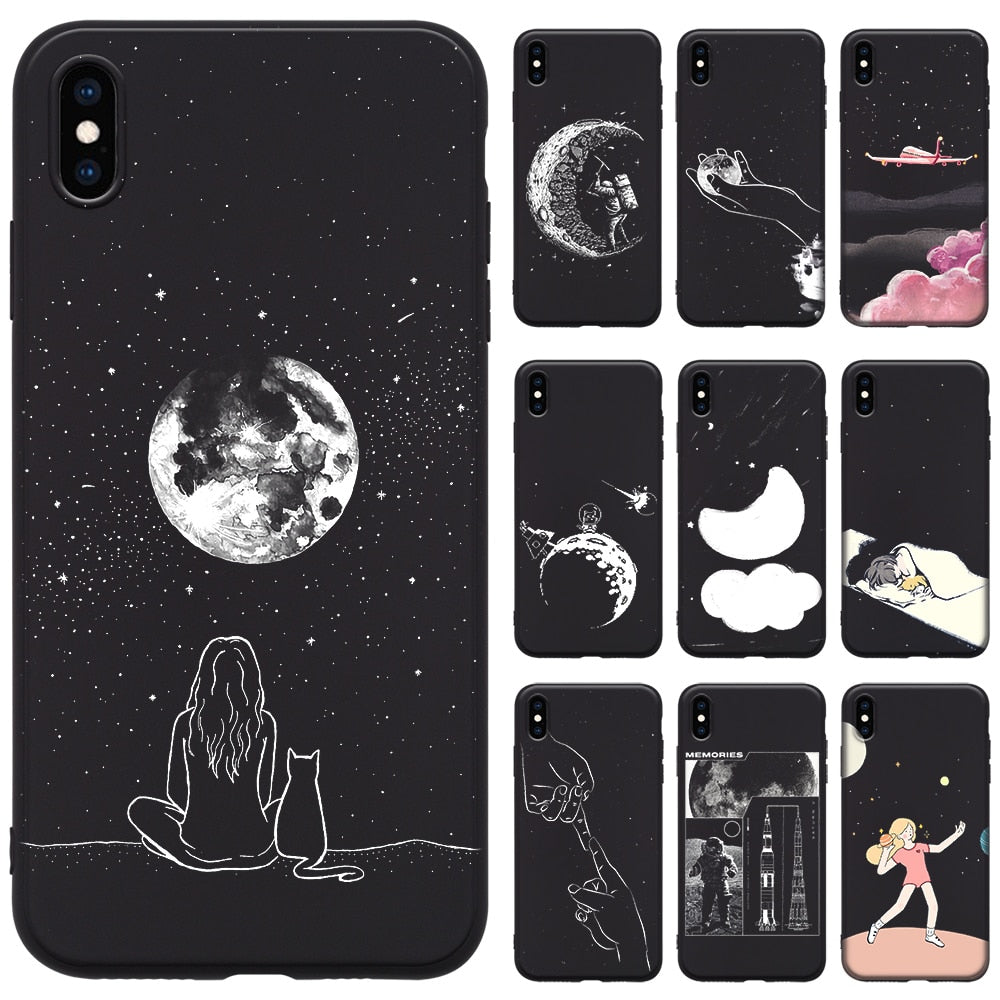 Case For HUAWEI P40 P20 P30 Pro Lite Mate 10 20 Space Man Univers Moon Girl Lady Funny Design Chic Retro Black TPU Cover Funda
