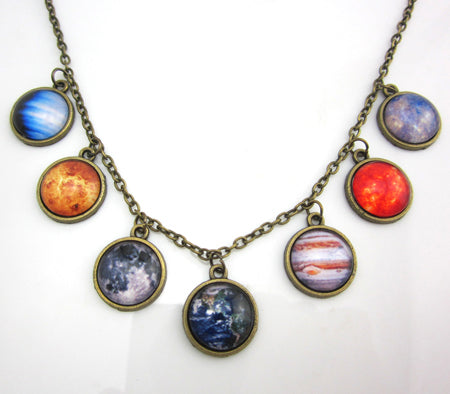 Spacey Necklace of planets, moon and sun. Antique brass pendant, glass dome necklace.