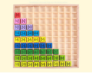 99 Multiplication Wooden Educational Table Math Toy for children