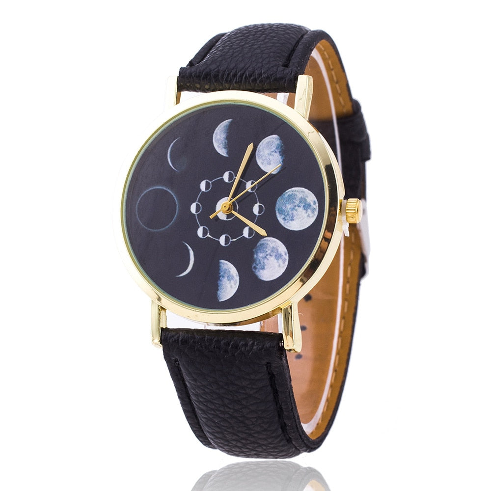 Cay Moon Phase Watch Astronomy Space Fashion Women Quartz Watches Casual Leather Wrist Watch Relogio Feminino