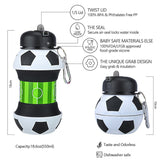 Football Sports Water Bottle With Straw Plastic Leak Proof Foldable Drinking 550 ML