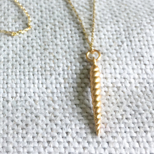Gold unicorn horn charm necklace