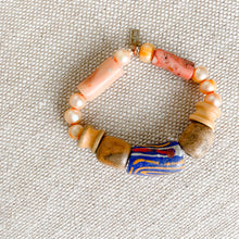 Prayer bead bracelet blue peach natural coral