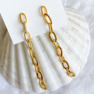Long Link Statement Earrings - BelleStyle