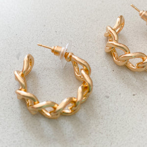 Curb Chain Link Hoop EarringS - BelleStyle