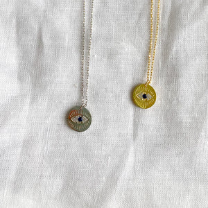 Bellestyle silver gold round evil eye pave crystal charm necklace