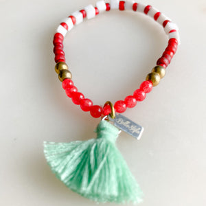Nico Bracelet - BelleStyle - girls red white sustainable joint cotton tassel one of a kind