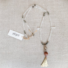 Pyrite crystal quartz clear crystal chain necklace gold leather tassel