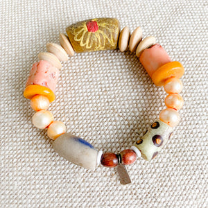 African prayer bead bracelet in coral light tan neutral color