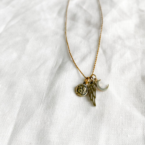 Wing Moon Charm Necklace