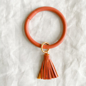 Burnt Pink keychain bracelet with tassel