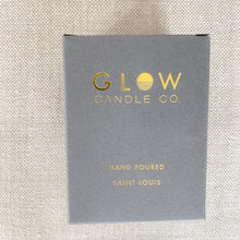 Glow candle box view grey gold packaging