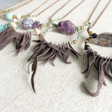 Leather fringe necklace by BelleStyle Features semi-precious stones, turquoise, Amethyst, and Agate.
