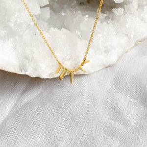 Bellestyle gold spike pave crystal necklace