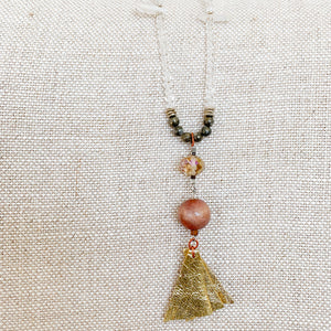 Pyrite Clear crystal chain with topaz crystal vintage rosewood gold leather tassel