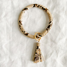 Natural snakeskin keychain bracelet with tassel