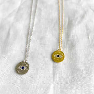 Bellestyle round evil eye protection necklace