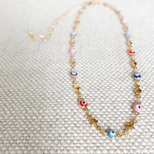 rainbow evil eye star gold choker necklace